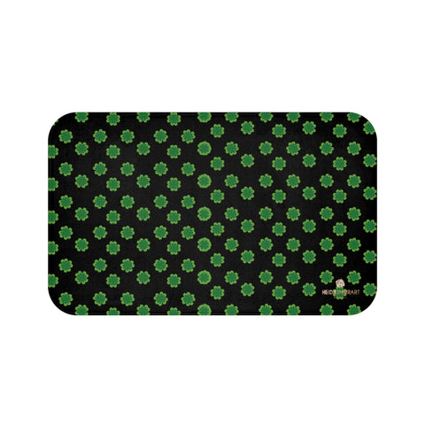 "Black Green Clover Print Bath Mat, St. Patrick's Day Bathroom Microfiber Rug- Printed in USA-Bath Mat-Large 34x21-Heidi Kimura Art LLC Black Green Clover Bath Mat, Black Green Clover Print Bath Mat, Black Green Clover Print St. Patrick's Day Designer Home Bathroom Anti-Slip Microfiber Bath Mat, Best Designer 34""x21"", 24""x17"" Non-Slip Bath Mat - Printed in USA, St. Patrick's Day Home Bath Mats"