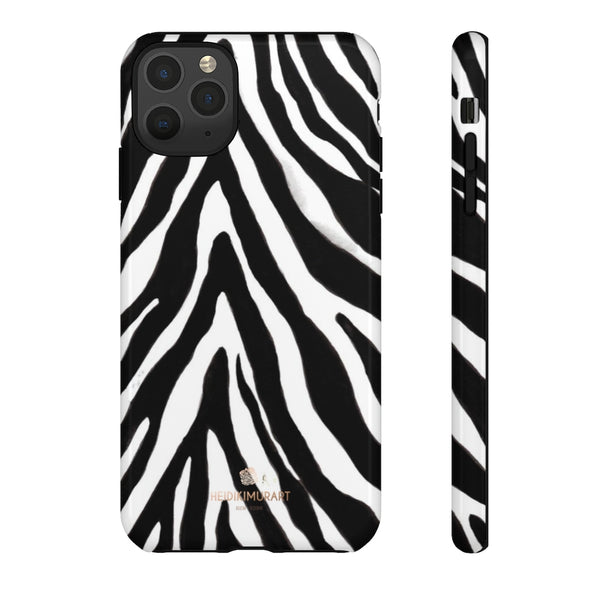 Zebra Stripe Phone Case, Animal Print Tough Designer Phone Case -Made in USA-Phone Case-Printify-iPhone 11 Pro Max-Glossy-Heidi Kimura Art LLC