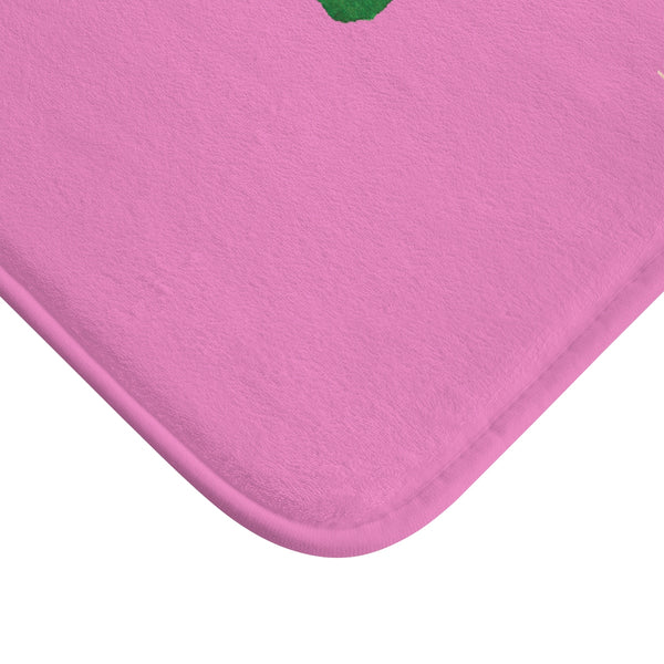 "Pink ""Do Something Green Today"", Inspirational Quote Microfiber Bath Mat- Printed in USA-Bath Mat-Heidi Kimura Art LLC"