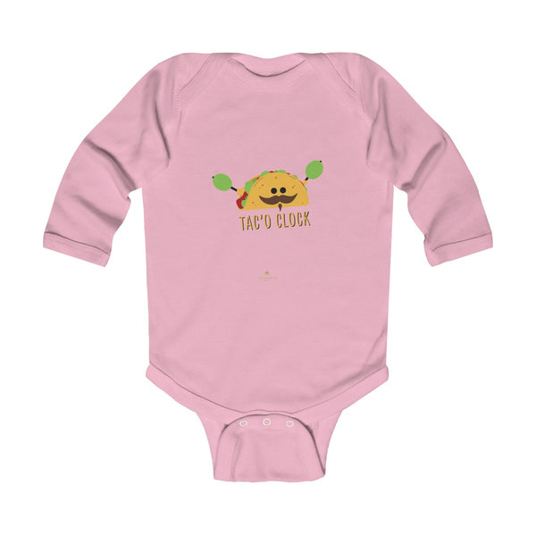 Taco Cute Funny Baby Boy or Girls Infant Kids Long Sleeve Bodysuit - Made in USA-Infant Long Sleeve Bodysuit-Pink-NB-Heidi Kimura Art LLC