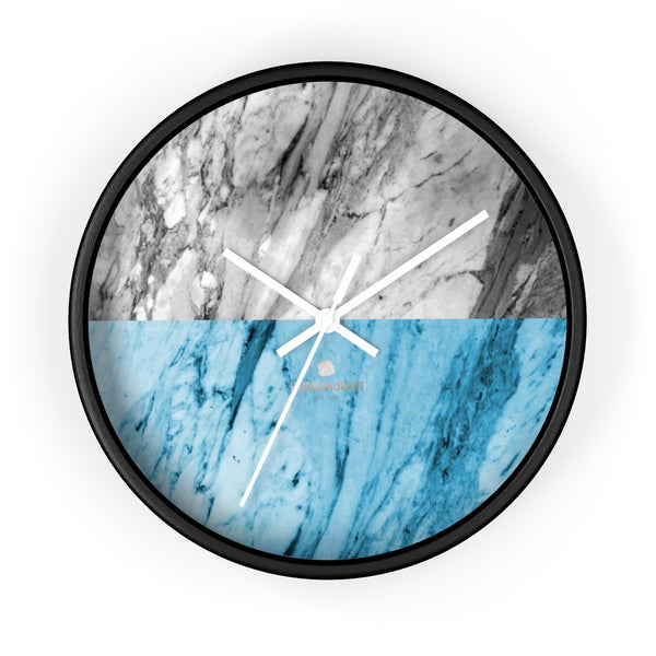"Gray Blue White Marble Print Art Large Indoor Designer 10"" dia. Wall Clock-Made in USA-Wall Clock-10 in-Black-White-Heidi Kimura Art LLC"