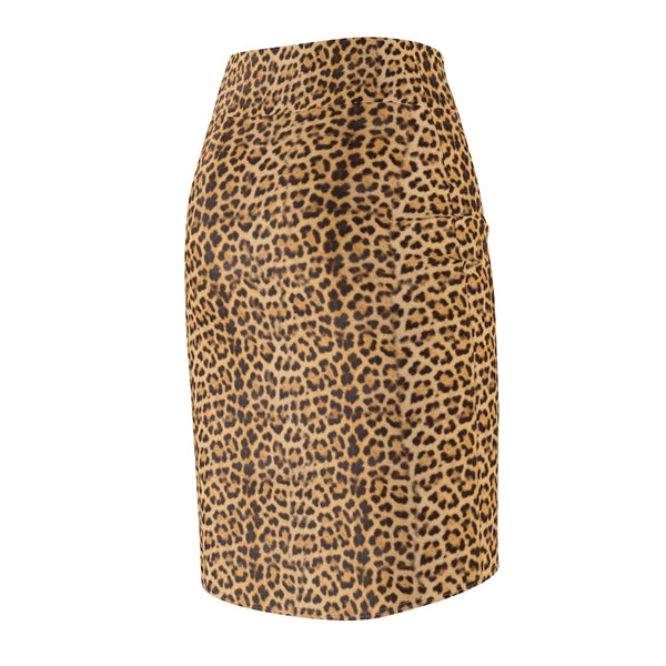 Brown Leopard Women's Pencil Skirt, Animal Print Ladies Stretchy Skirt- Made in USA-All Over Prints-Printify-Heidi Kimura Art LLC
