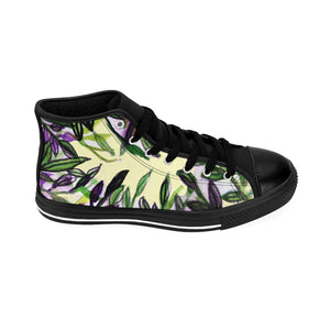 Light Yellow Green Tropical Leaf Print Designer Men's High-top Sneakers Tennis Shoes-Men's High Top Sneakers-Black-US 9-Heidi Kimura Art LLC