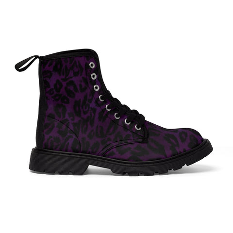 Pure Leopard Men's Boots, Best Hiking Winter Boots Laced Up Shoes For Men-Shoes-Printify-Black-US 9-Heidi Kimura Art LLC Purple Leopard Men's Boots, Best Luxury Premium Quality Unique Animal Print Designer Men's Lace-Up Winter Boots Men's Shoes (US Size: 7-10.5)