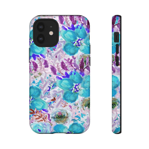 Blue Floral Designer Tough Cases, Purple Mixed Flower Print Best Designer Case Mate Best Tough Phone Case For iPhones and Samsung Galaxy Devices-Made in USA