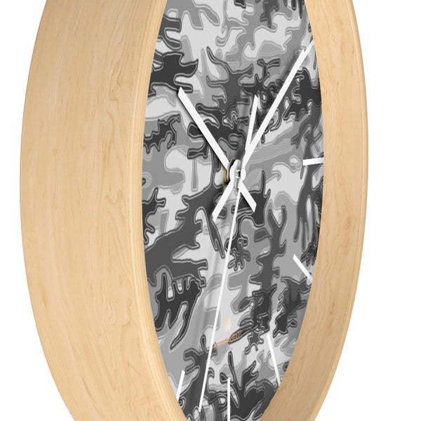 Gray Camo Camoflage Military Print Large Unique Indoor Wall Clocks- Made in USA-Home Decor-Heidi Kimura Art LLC