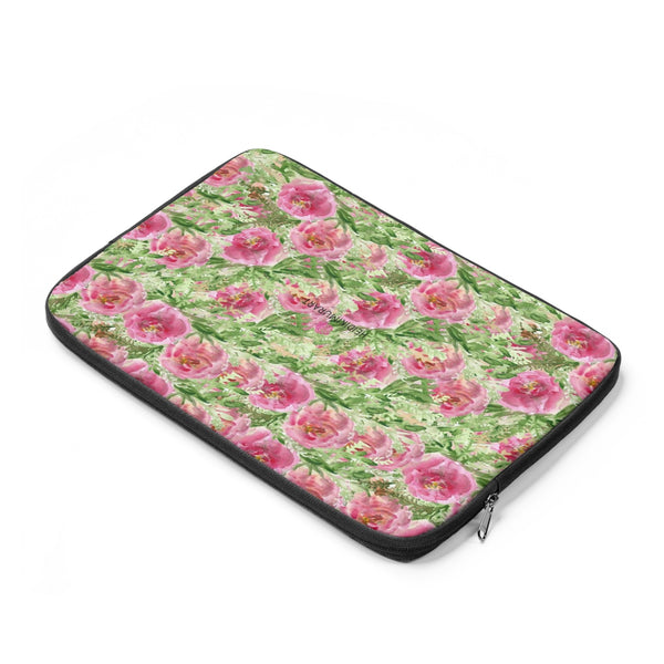 "Pink Rose Floral Print 12', 13"", 14"" Floral Laptop Sleeve - Designed + Made in the USA-Laptop Sleeve-Heidi Kimura Art LLC"