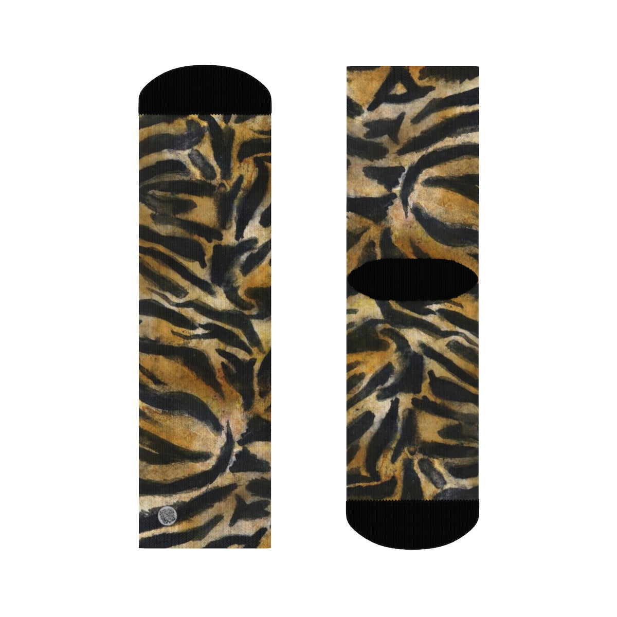 Tiger Stripe Print Unisex Socks, Orange Tiger Animal Print Women's/ Men's Luxury Socks-Socks-3/4 Crew-Heidi Kimura Art LLC
