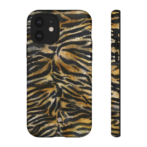 Brown Tiger Striped Tough Cases, Animal Print Best Designer Phone Case-Made in USA-Phone Case-Printify-iPhone 12-Glossy-Heidi Kimura Art LLC