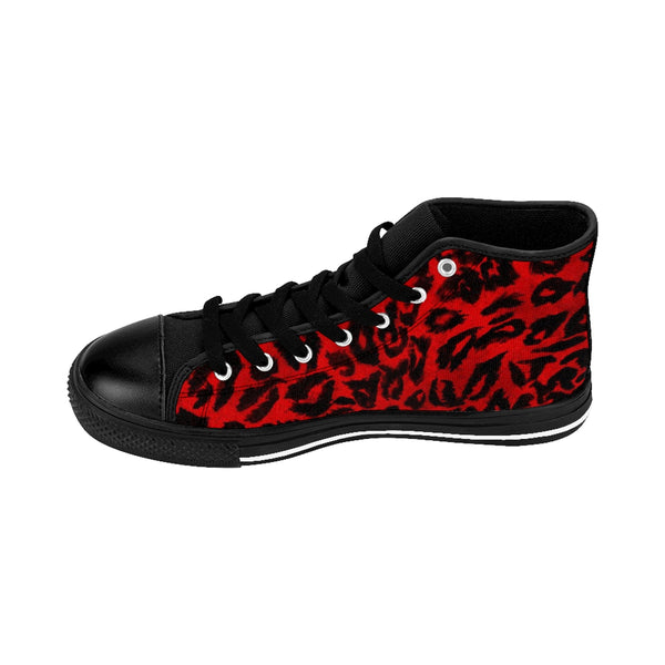 Hot Red Leopard Animal Print Premium Men's High-top Fashion Sneakers Shoes-Men's High Top Sneakers-Heidi Kimura Art LLC