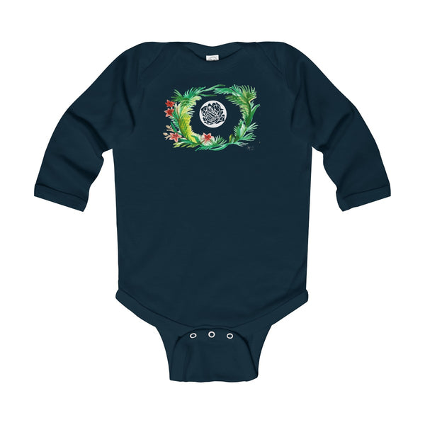 Fall Floral Print Baby's Infant Cotton Long Sleeve Bodysuit -Made in UK (UK Size: 6M-24M)-Kids clothes-Navy-12M-Heidi Kimura Art LLC