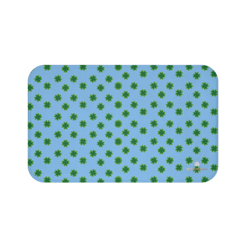 Light Blue Green Clover Print St. Patrick's Day Bathroom Premium Bath Mat- Printed in USA-Bath Mat-Large 34x21-Heidi Kimura Art LLC