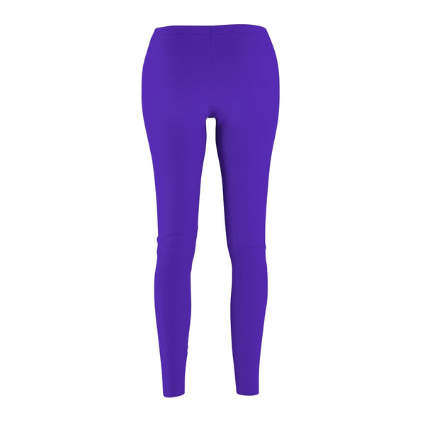 Iris Bright Purple Classic Solid Color Women's Casual Leggings - Made in USA-Casual Leggings-Heidi Kimura Art LLC