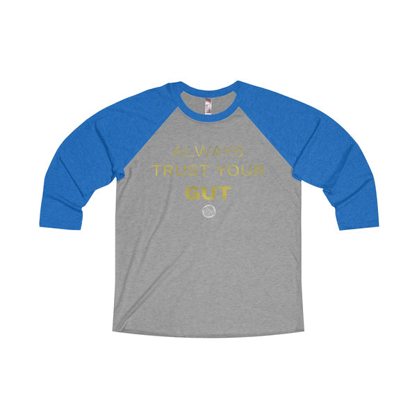 Motivational Unisex Tee, Tri-Blend 3/4 Raglan T-Shirt With Inspirational Quote -Made in USA-Long-sleeve-S-Vintage Royal / Premium Heather-Heidi Kimura Art LLC