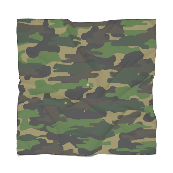 "Green Camo Poly Scarf, Army Military Print Lightweight Fashion Accessories- Made in USA-Accessories-Printify-Poly Voile-50 x 50 in-Heidi Kimura Art LLC Green Camo Poly Scarf, Army Military Print Lightweight Delicate Sheer Poly Voile or Poly Chiffon 25""x25"" or 50""x50"" Luxury Designer Fashion Accessories- Made in USA, Fashion Sheer Soft Light Polyester Square Scarf"
