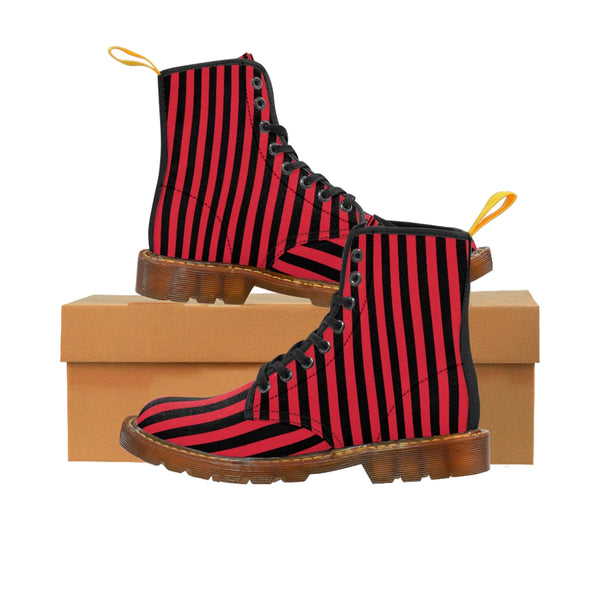 Red Striped Print Men's Boots, Black Red Stripes Best Hiking Winter Boots Laced Up Shoes For Men-Men's Boots-Printify-ArtsAdd-Brown-US 8-Heidi Kimura Art LLC