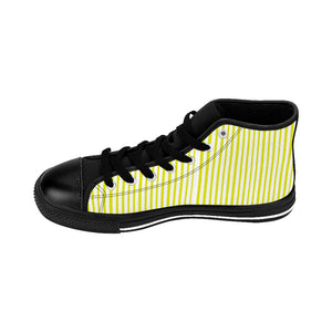 Yellow Striped High-top Sneakers, Modern Stripes Best Men's Designer Tennis Running Shoes-Shoes-Printify-Black-US 9-Heidi Kimura Art LLC Yellow Striped Men's High-top Sneakers, Yellow White Modern Stripes Men's High Tops, High Top Striped Sneakers, Striped Casual Men's High Top For Sale, Fashionable Designer Men's Fashion High Top Sneakers, Tennis Running Shoes (US Size: 6-14)