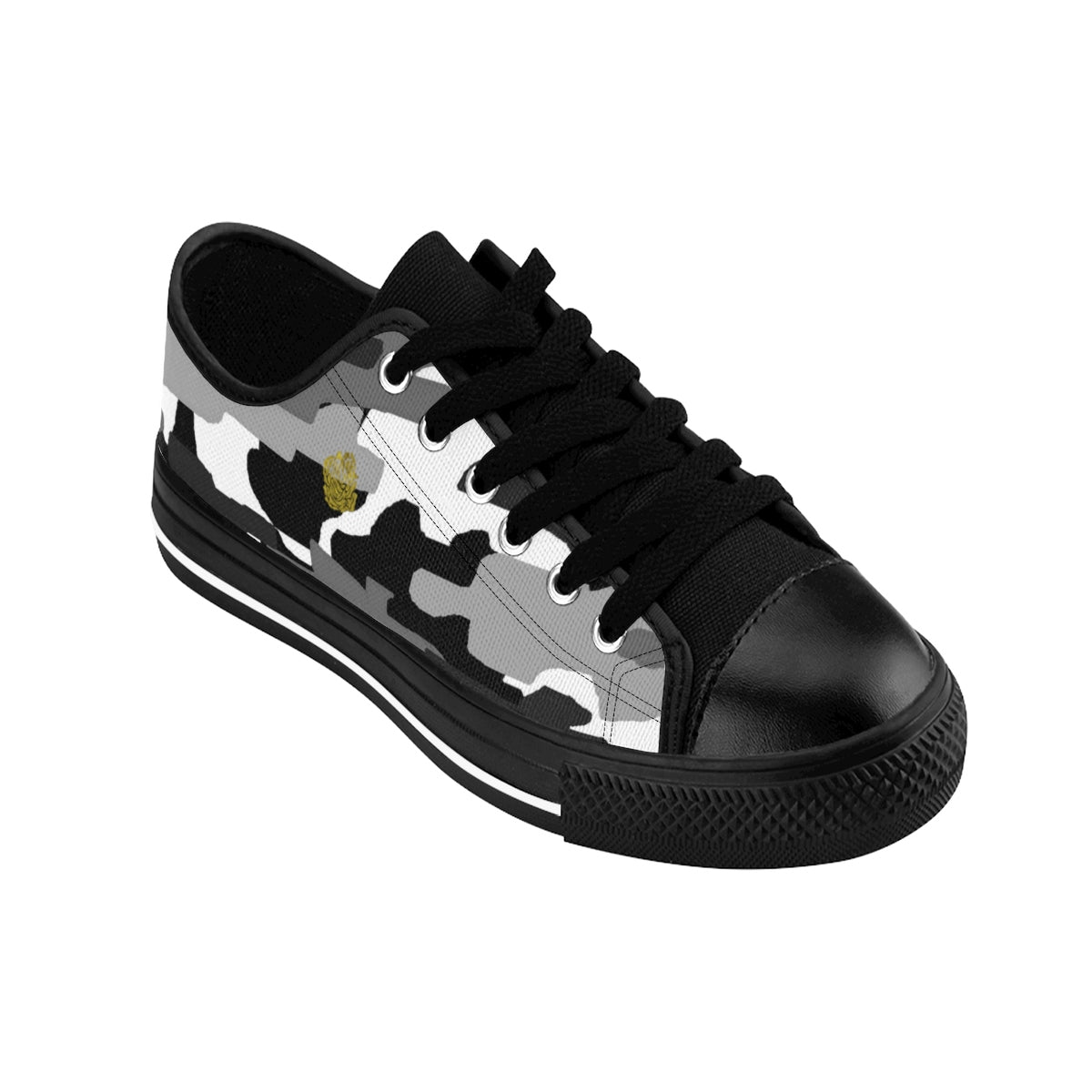 Gray Camo Men's Low Tops, Camouflage Military Print Designer Men's Low Top Sneakers-Men's Low Top Sneakers-Black-US 9-Heidi Kimura Art LLC