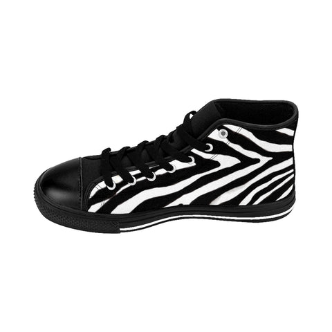 "Cool Zebra Women's Sneakers, Striped Animal Print Designer High-top Fashion Tennis Shoes-Shoes-Printify-Black-US 9-Heidi Kimura Art LLCChic Zebra Women's Sneakers, Striped Animal Print 5"" Calf Height Women's High-Top Sneakers Running Canvas Shoes (US Size: 6-12)"