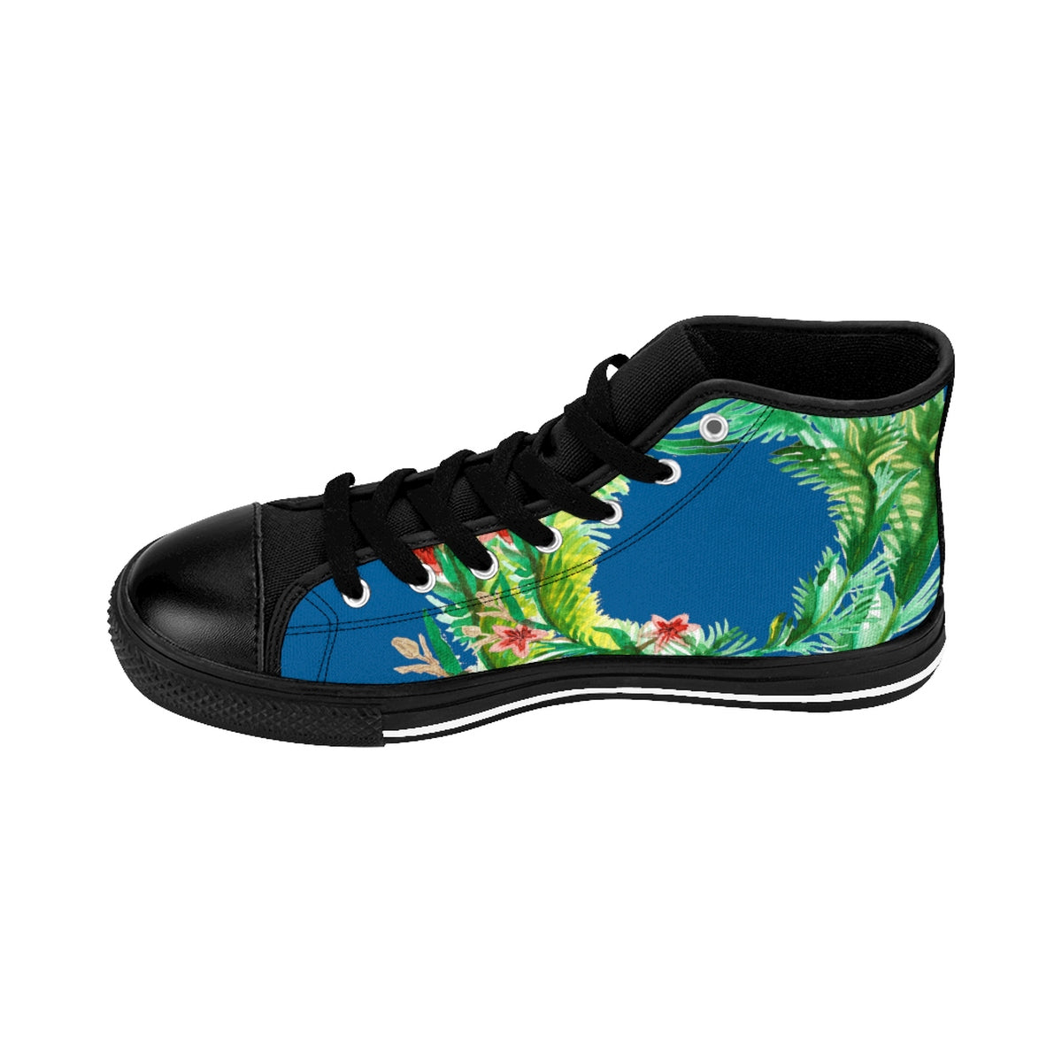 Blue Red Fall Themed Floral Print Designer Men's High-top Sneakers Running Tennis Shoes-Men's High Top Sneakers-Black-US 9-Heidi Kimura Art LLC Blue Floral Men's Sneakers, Blue Red Fall-Inspired Floral Print Designer Men's High-top Sneakers Running Tennis Shoes, Floral High Tops, Mens Floral Shoes, Hawaiian Floral Print Sneakers  (US Size: 6-14)
