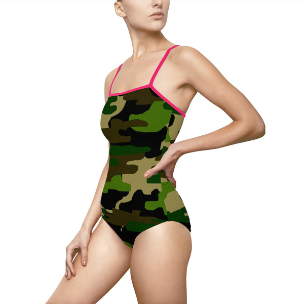 Camouflage Military Army Green Print Women's 1-pc Thin Strap Swimsuit Swimwear (Size: XS-3XL)-Swimwear-Heidi Kimura Art LLC