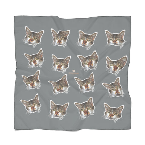 Gray Cat Print Poly Scarf, Cute Fashion Accessories For Cat Lovers- Made in USA-Accessories-Printify-Poly Chiffon-25 x 25 in-Heidi Kimura Art LLC