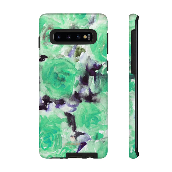 Turquoise Floral Print Tough Cases, Designer Phone Case-Made in USA-Phone Case-Printify-Samsung Galaxy S10-Matte-Heidi Kimura Art LLC