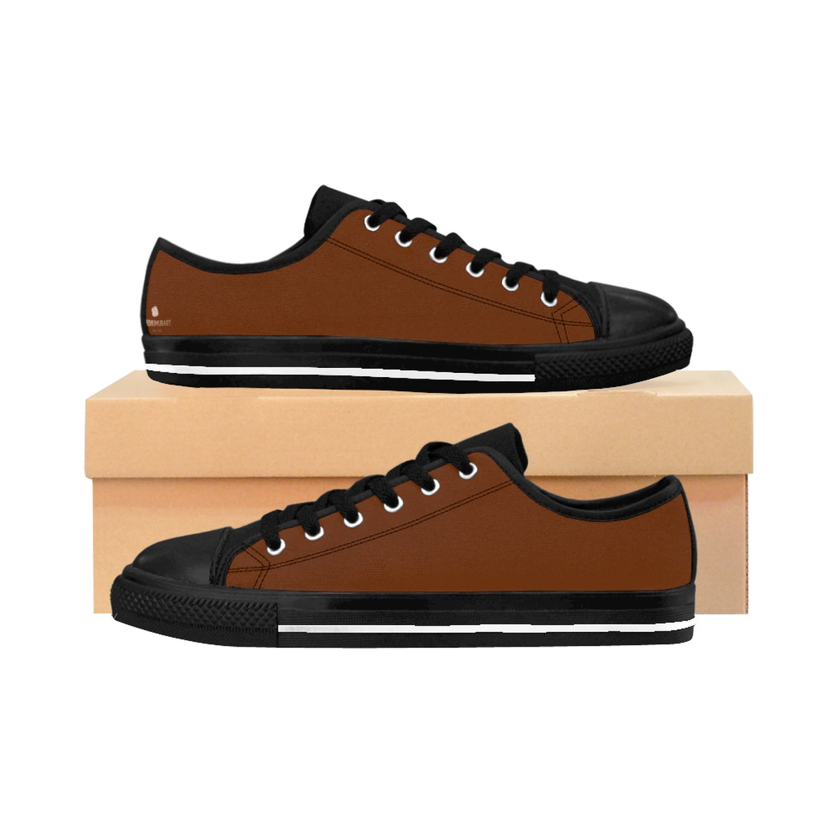 Caramel Brown Solid Color Designer Low Top Women's Sneakers (US Size: 6-12)-Women's Low Top Sneakers-US 10-Heidi Kimura Art LLC