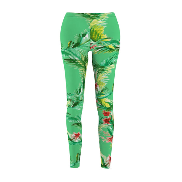Emerald Green Rose Floral Print Women's Tights / Casual Leggings - Made in USA (US Size: XS-2XL)-Casual Leggings-M-Heidi Kimura Art LLC