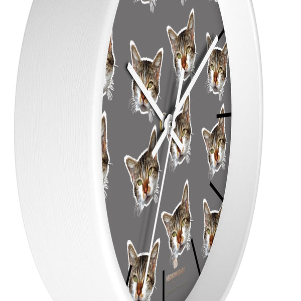 "Gray Cat Print Wall Clock, Cute Calico Cat Unique 10"" Dia. Indoor Wall Clocks- Made in USA-Wall Clock-Heidi Kimura Art LLC"