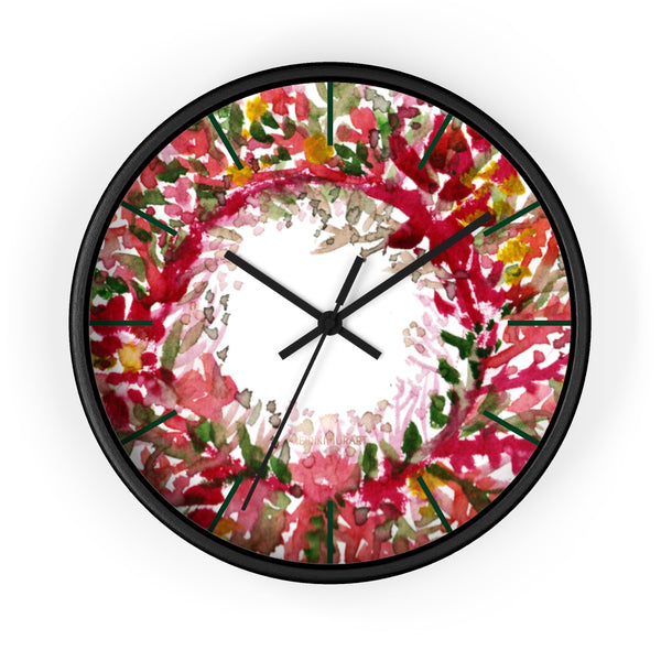 Fall Orange Red Floral Print Designer 10 in. Dia. Indoor Wall Clock- Made in USA-Wall Clock-10 in-Black-Black-Heidi Kimura Art LLC