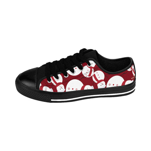 Burgundy Red White Snowman Christmas Print Men's Low Top Sneakers (US Size: 14)-Shoes-Black-US 9-Heidi Kimura Art LLCBurgundy Christmas Men's Sneakers, Red White Snowman Christmas Holiday Print Men's Low Top Nylon Canvas Sneakers Fashion Running Tennis Shoes (US Size: 7-14)