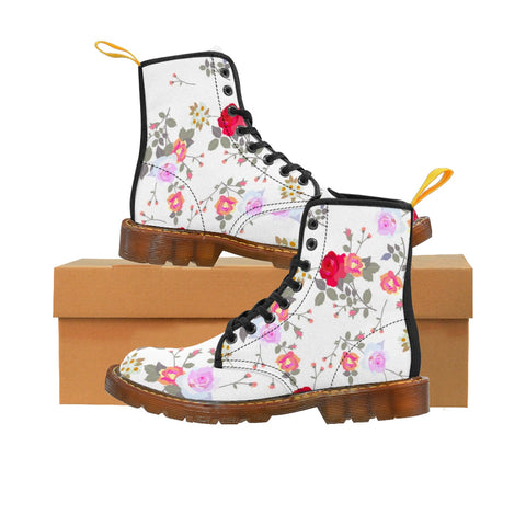White Floral Print Designer Vintage Style Women's Canvas Winter Boots(Size: 6.5-11)-Women's Boots-Brown-US 9-Heidi Kimura Art LLC