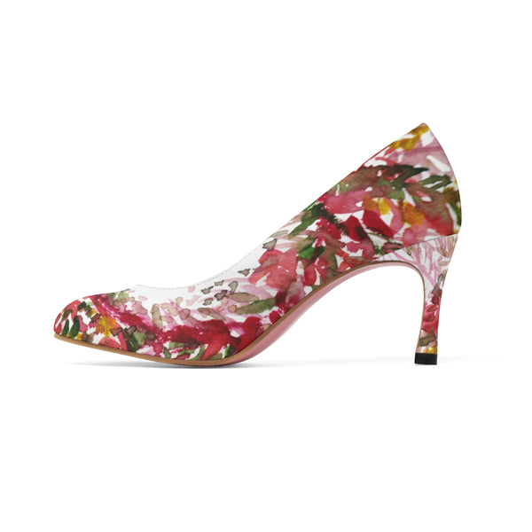 "Red Leaves Floral Autumn/ Fall Print Women's Designer 3"" High Heels Shoes (US Size 5-11)-3 inch Heels-Heidi Kimura Art LLC"