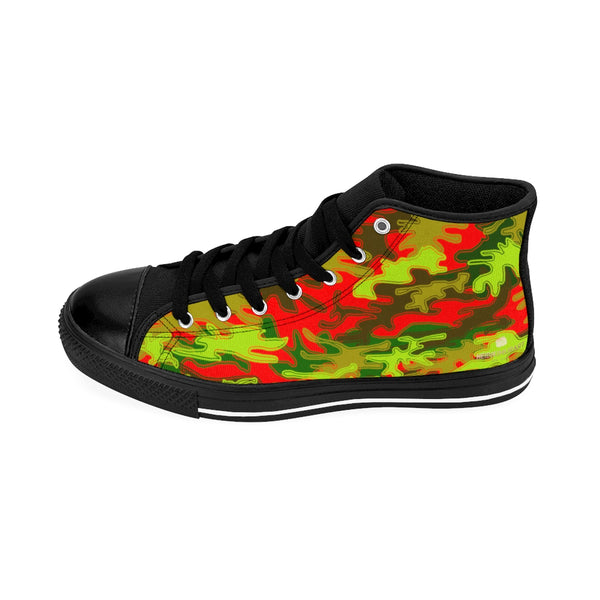 Red Green Camouflage Army Military Print Men's High-top Sneakers Tennis Shoes-Men's High Top Sneakers-Black-US 9-Heidi Kimura Art LLC