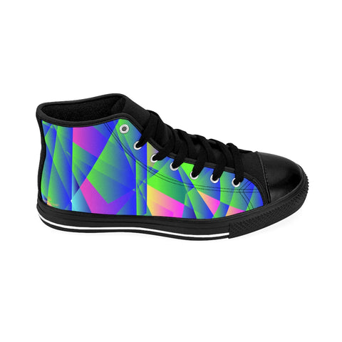 Blue Purple Geometric Diamond Print Men's High-top Sneakers Fashion Tennis Shoes-Men's High Top Sneakers-Black-US 9-Heidi Kimura Art LLC Blue Geometric Men's Sneakers, Blue Purple Geometric Diamond Print Men's High-top Sneakers Tennis Shoes Fashionable Designer Men's High Top Sneakers, Men's Fashion Sneaker Shoes (US Size: 6-14)