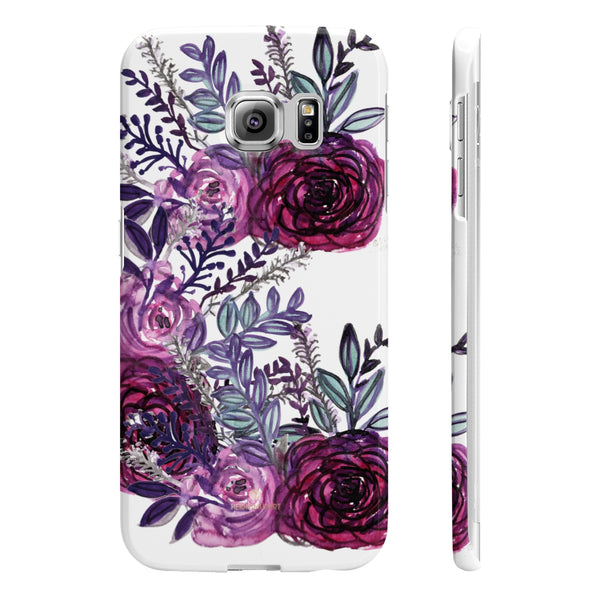 White Purple Rose Slim iPhone/ Samsung Galaxy Floral Print Phone Case, Made in UK-Phone Case-Samsung Galaxy S6 Edge Slim-Glossy-Heidi Kimura Art LLC