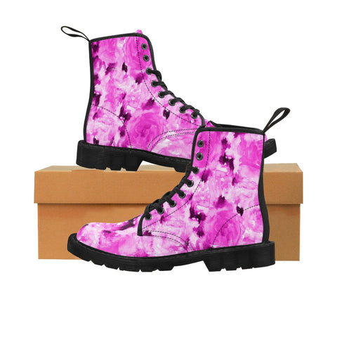 Hot Pink Rose Floral Print Girlie Premium Designer Women's Winter Lace-up Toe Cap Boots-Women's Boots-Heidi Kimura Art LLCHot Pink Floral Women's Boots, Hot Pink Rose Floral Print Girlie Premium Designer Women's Winter Lace-up Toe Cap Boots (US Size: 6.5-11)