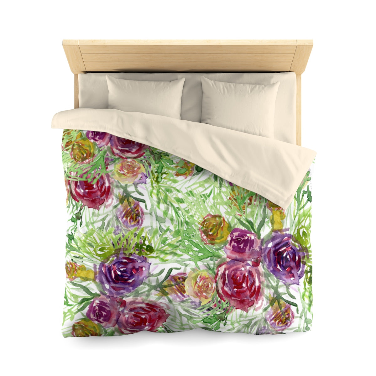 Purple Garden Floral Rose Soft Polyester Microfiber Duvet Cover-Made in USA-Duvet Cover-Queen-Cream-Heidi Kimura Art LLC