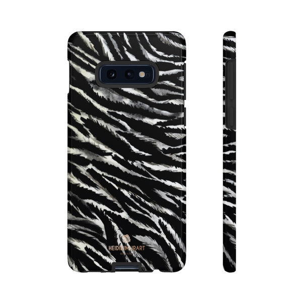 White Tiger Stripe Phone Case, Animal Print Tough Designer Phone Case -Made in USA-Phone Case-Printify-Samsung Galaxy S10E-Glossy-Heidi Kimura Art LLC