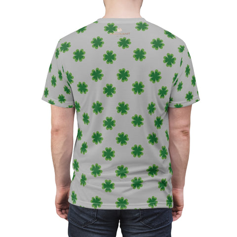 Light Gray Green Clover St. Patrick's Day Print Unisex Crew Neck Designer Tee- Made in USA-Unisex T-Shirt-Heidi Kimura Art LLC