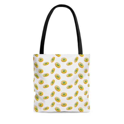 White Gold Coins Lucky Irish Green Clover Leaf Shamrock Print Tote Bag- Made in USA-Tote Bag-Large-Heidi Kimura Art LLC