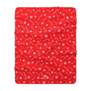 "Bright White Red Candy Cane Christmas Print Cozy Sherpa Fleece Blanket - Made in USA-Blanket-60"" x 80""-Heidi Kimura Art LLC"