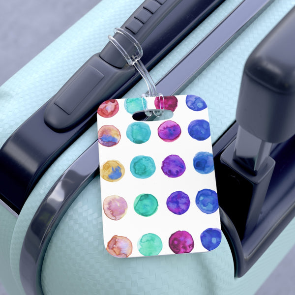 Ueto Cute Watercolor Polka Dots Designer Travel Luggage Suitcase Bag Tag - Made in USA-Bag Tags-One Size-Heidi Kimura Art LLC Colorful Dots Travel Luggage Tag, Cute Watercolor Polka Dots Designer Travel Luggage Suitcase Bag Tag - Made in USA