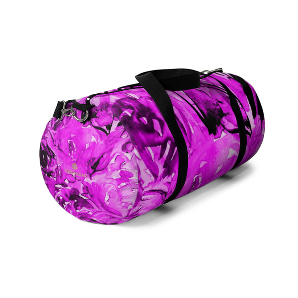 Pink Floral Rose Print Designer All Day Small Or Large Size Duffel Bag, Made in USA-Duffel Bag-Heidi Kimura Art LLC
