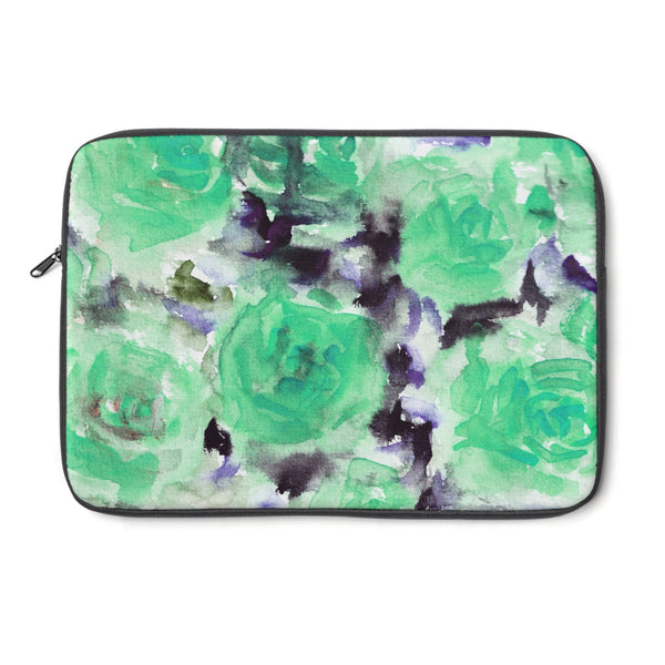 "Utano Singing Light Blue Dreamy Rose Floral Print 12', 13"", 14"" Laptop Sleeve - Designed + Made in the USA - Heidi Kimura Art LLC"