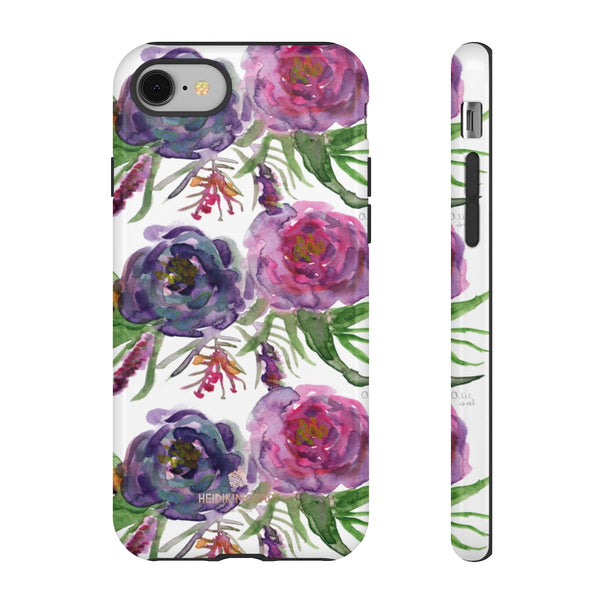 Pink Floral Print Phone Case, Roses Tough Designer Phone Case -Made in USA-Phone Case-Printify-iPhone 8-Glossy-Heidi Kimura Art LLC