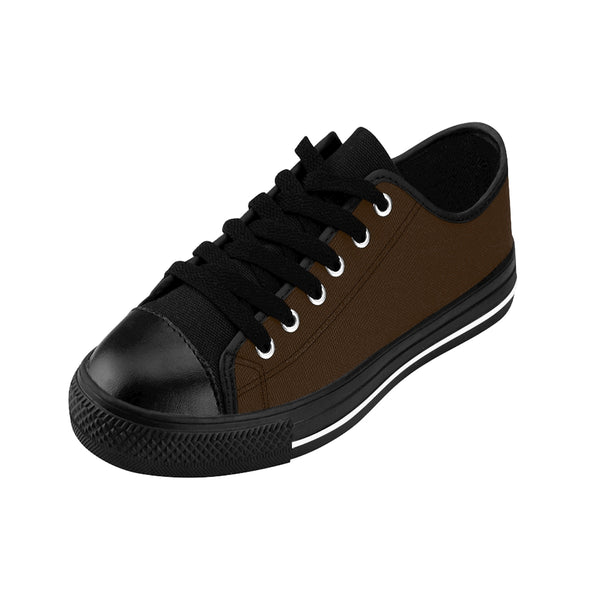 Raw Dark Chocolate Solid Brown Color Designer Men's Running Shoes Low Top Sneakers-Men's Low Top Sneakers-Heidi Kimura Art LLC