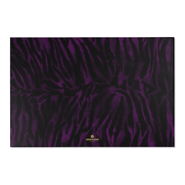 "Purple Black Tiger Stripe Print Designer 24x36, 36x60, 48x72 inches Area Rugs - Printed in USA-Area Rug-72"" x 48""-Heidi Kimura Art LLC"
