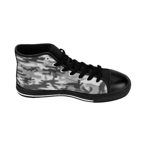 "Gray Camo Print Women's Sneakers, Army Military Designer High-top Sneakers Tennis Shoes-Shoes-Printify-Black-US 9-Heidi Kimura Art LLCGray Camo Women's Sneakers, Army Military Camouflage Print 5"" Calf Height Women's High-Top Sneakers Running Canvas Shoes (US Size: 6-12)"